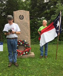 Joe Owen (left) participated in a commemoration ceremony for the Texas monument at Gettysburg in early June