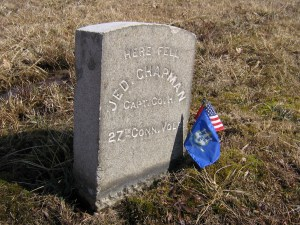 Monument in the Wheatfield to Captain Jedediah Chapman of the 27th Connecticut.