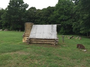 A replica of what one of the winter huts would have looked like. This replica is on the grounds of the White Oak Museum & Stafford Research Center.