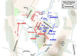 Confederate's sweep the Wheatfield. Map courtesy of Hal Jespersen. www.posix.com/CW