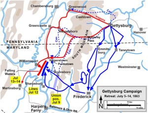 Routes taken to Williams Port, MD from Gettysburg by the Army of Northern Virginia (Red) and the Army of the Potomac (Blue). Map by Hal Jespersen, www.posix.com/CW