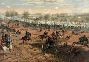 """This digitally-enhanced version of the painting """"Hancock at Gettysburg"""" by Thure de Thulstrup depicts the Union repulse of Pickett's Charge. This assault resulted in a costly defeat for Lee's army and precipitated their retreat. Courtesy of Adam Cuerden"""