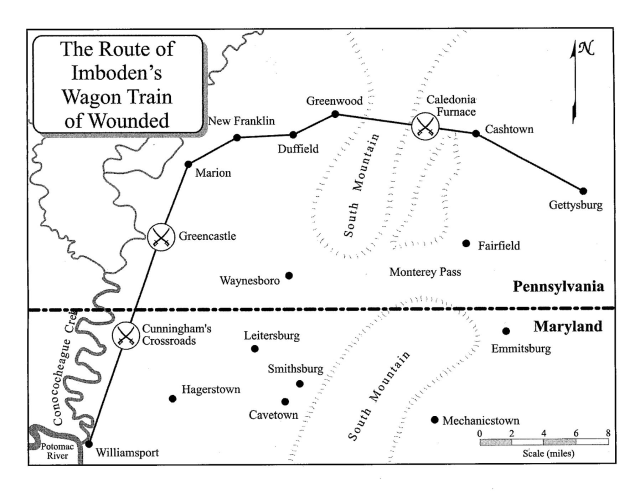 The route Imboden's wagon train of the wounded took to Jonesport, MD. (Courtesy of Eric Wittenberg, J. David Pertruzzi and Michael Nugent, authors of One Continuous Fight: The Retreat From Gettysburg and the Pursuit of Lee's Army of Northern Virginia, July 4-14, 1863, Savas Beatie Publishing 2013)