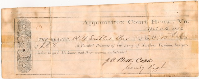 An original Appomattox Parole (Image used with permission from Alexander Historical Auctions)