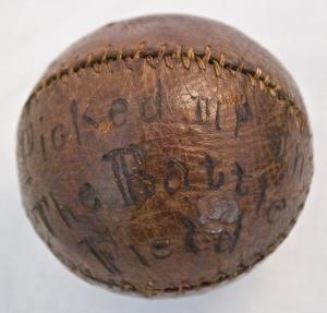 A baseball found on a battlefield
