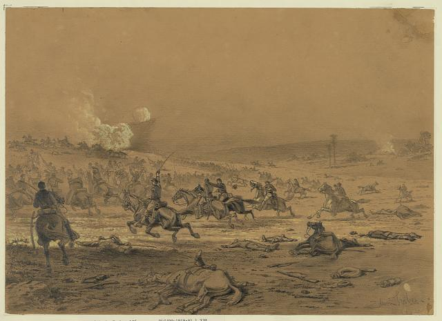 """A Cavalry Charge"" by Edwin Forbes. (LOC)"