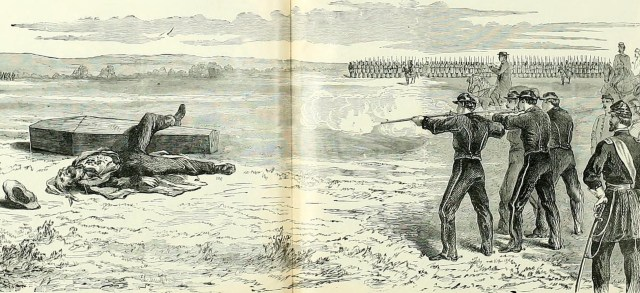 """Military Execution of a Private of the Lincoln Cavalry For Desertion and Attempted Communication With the Enemy, December 13, 1861"" Originally published in Frank Leslie's"