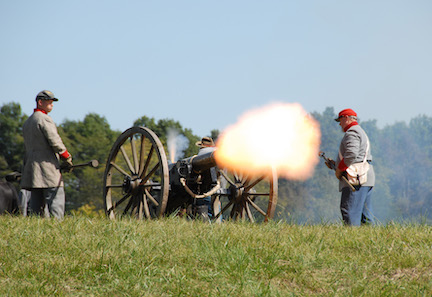 Confederate artillery in action at Perryville