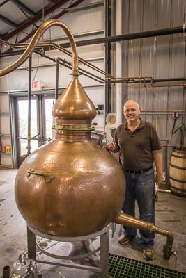 Steve Beam with his 150 gallon still at the Limestone Branch Distillery
