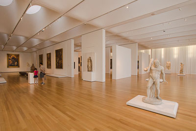 Spacious galleries in the west building at the North Carolina Museum of Art