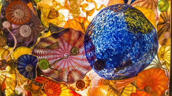Photo of Glass by Dale Chihuly overhead on the Bridge of Glass in Tacoma, Washington