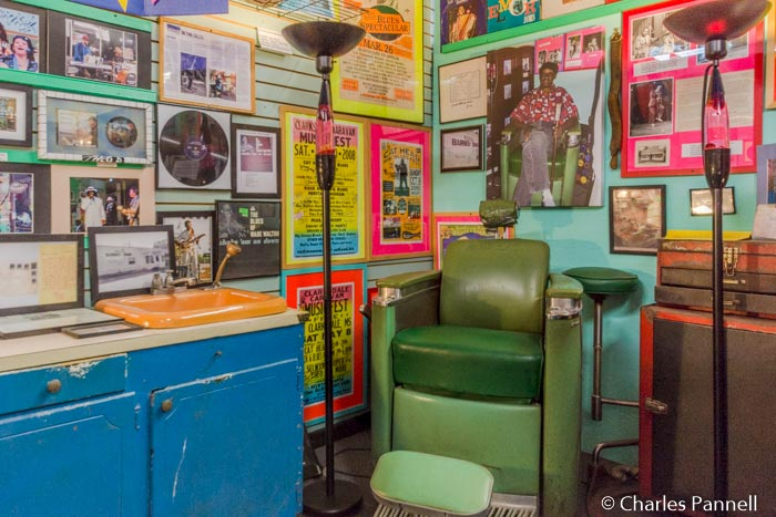 Signed guitars, concert posters, concert photos, and other memorabilia in the Rock and Blues Museum in Clarksdale, Mississippi.
