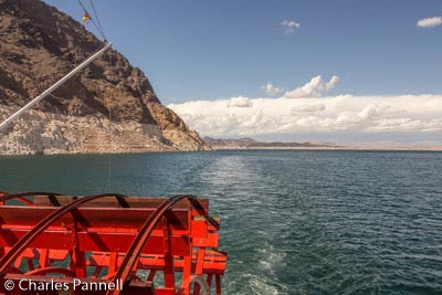 View of Lake Mead over the paddle wheel