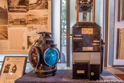Street car coin box and lantern in the San Francisco Railway Museum