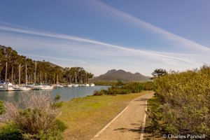Marina side of the Harbor Peninsula Trail