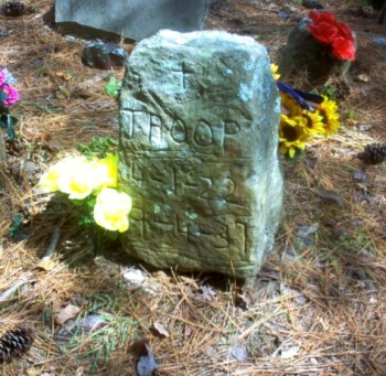 Oldest tombstone in Key Underwood Coon Dog Memorial Graveyard near Tuscumbia, Alabma