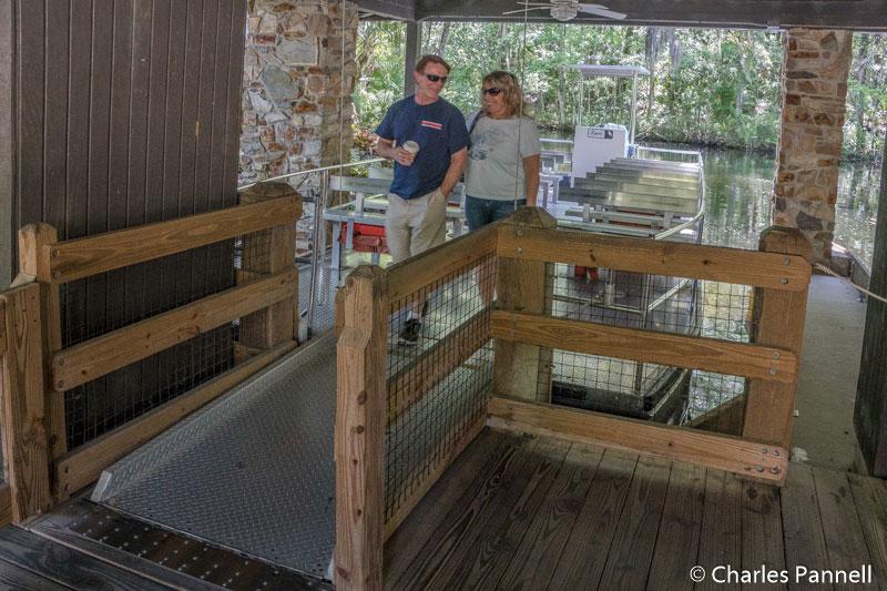 Pontoon boat boarding at East Visitor Center in Homosassa Springs State Park