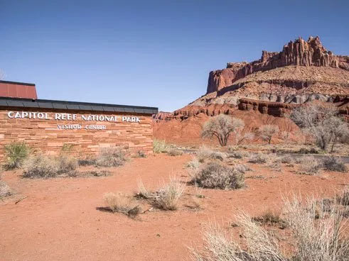 Photo of The Castle formation viewed from the Capitol Reef Visitor Center