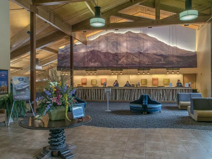 Photo of the lobby at the Denali Princess Wilderness Lodge