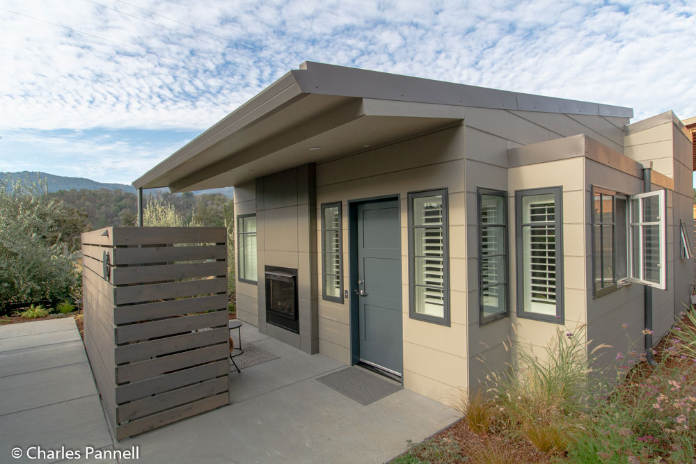 Exterior of Cabin 9 at Olea Wheelchair Cottage