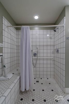 Accessible travel - large roll-in shower with a broad built-in bench
