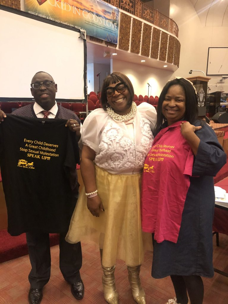 (From left to right) Bishop Henry Davenport, Crystal Sanford-Brown, and First Lady Pamela Davenport of Solomon's Temple (Detroit, MI)