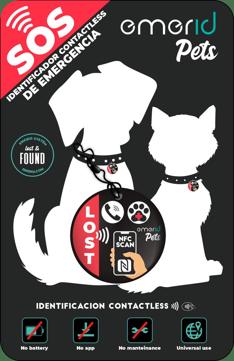 PACKAGING EMERID PETS placa identificadora nfc para mascotas perros gatos