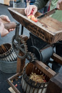The cider press in action.