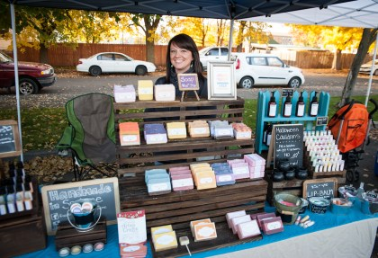 Rachel from Orange Thyme with her colorful handmade soaps