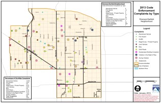 2013 E-G code violations (reported) by location