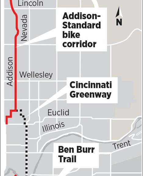 map of Cincinnati Greenway