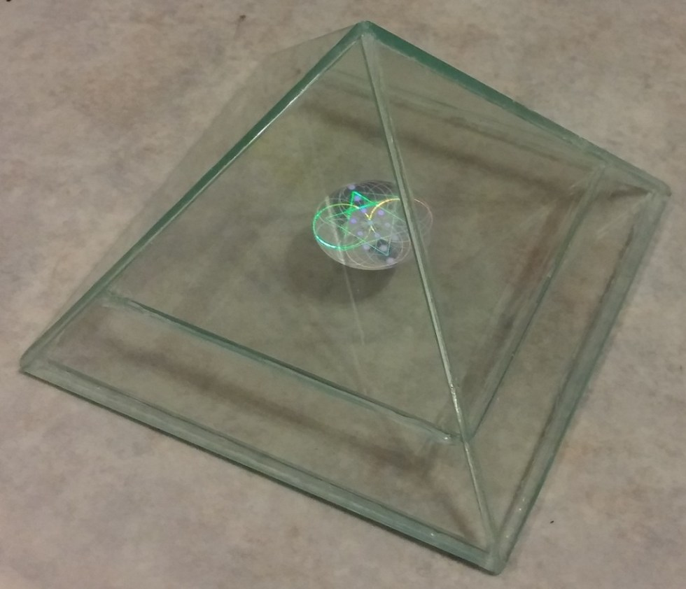 glass hologram pyramid