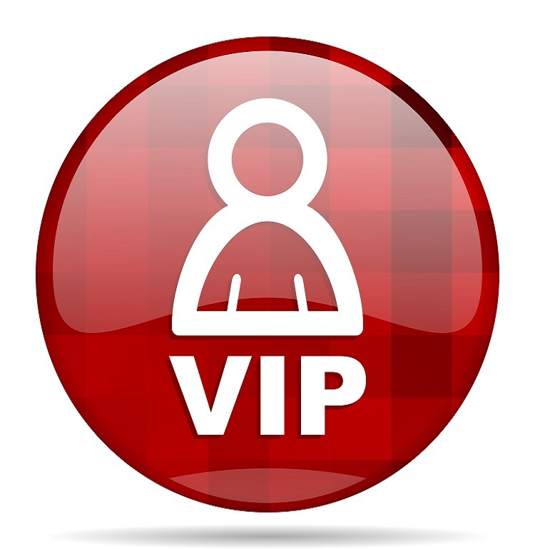 vip red round glossy modern design web icon