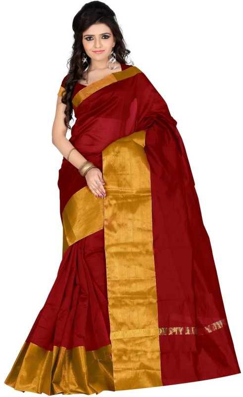 Roopkala Silks Solid Chanderi Polycotton Sari(Maroon)