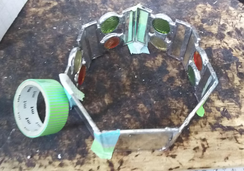 おはじきステンドグラスの7角形テラリウム