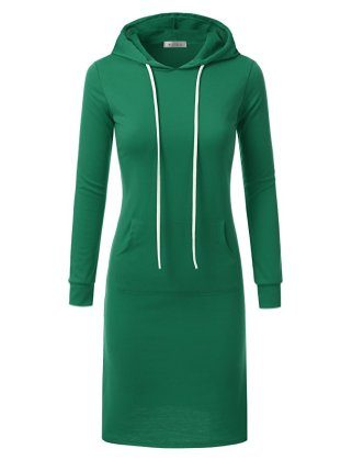 Doublju Womens Long Sleeve Hoodie Midi Dress (Made In USA) EMERALD LARGE