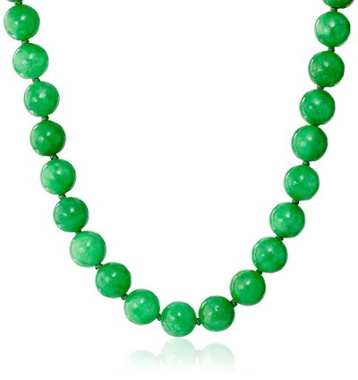14k Yellow Gold 10mm Green Jade Strand Necklace, 18""