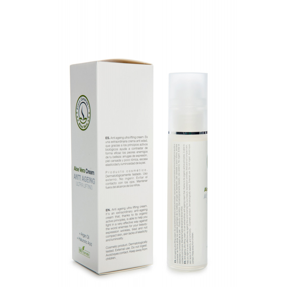 Aloe Vera Anti Age creme kopen met 30 procent Aloe Vera uit de Canarische Eilanden - achterkant