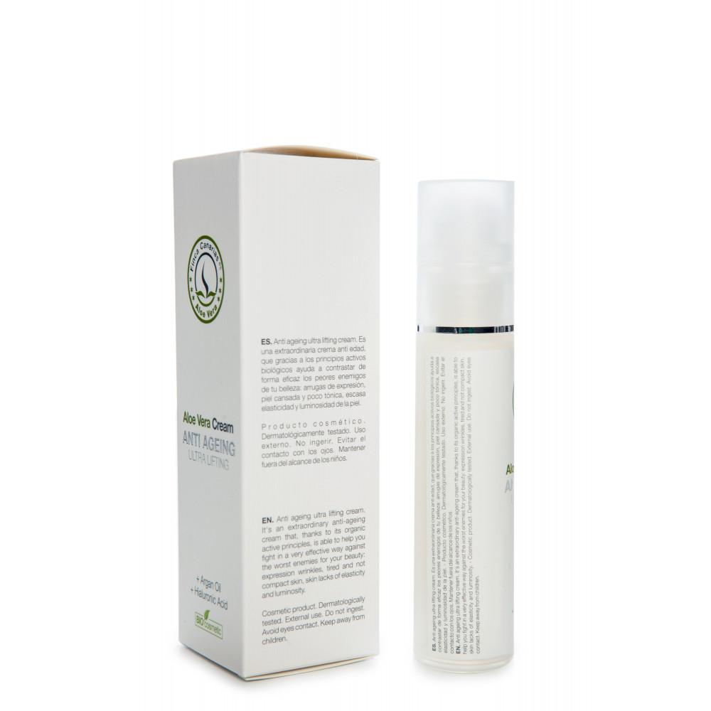 Aloe Vera Anti Age creme met 30 procent Aloe Vera uit de Canarische Eilanden - achterkant