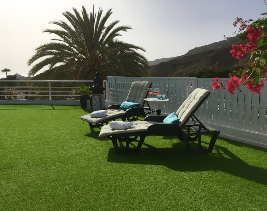 Emigreren Gran Canaria - Vakantiehuizen - villa met prive zwembad in Tauro (4 tot 6 personen) - Tuin met uitzicht en zonsondergang