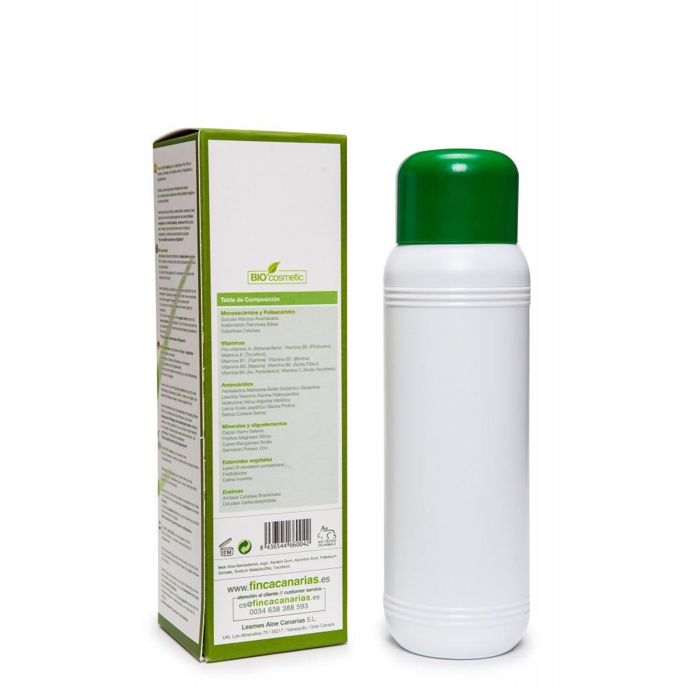 Pure Aloe Vera gel 99% kopen uit de Canarische Eilanden fles 500 ml achterkant