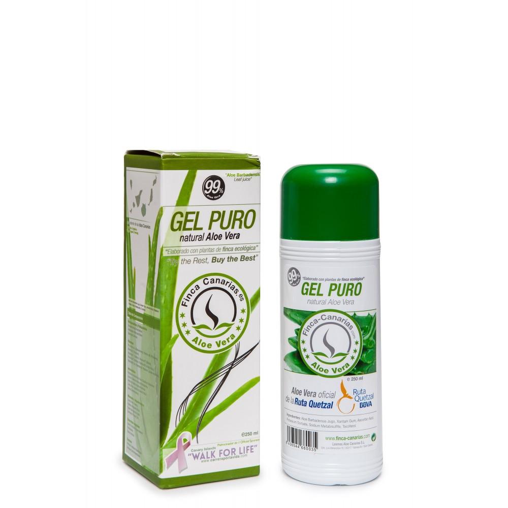 Pure Aloe Vera gel 99% uit de Canarische Eilanden fles 250 ml voorkant
