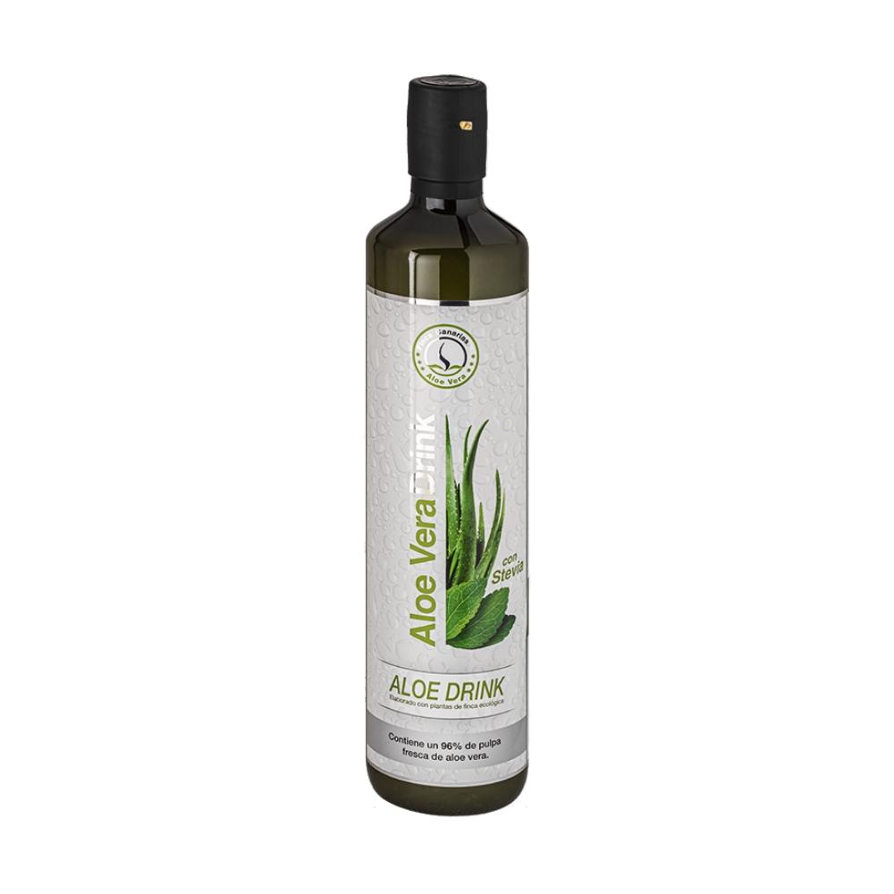 Pure Aloe Vera sap met Stevia 96 procent | Emigreren Gran CanariaPure Aloe Vera sap met honing 96 procent fles voorkant