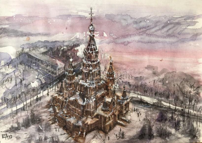 Hiver à saint Pétersbourg- St. Pierre et Paul sous la neige- dim. 40x28cm