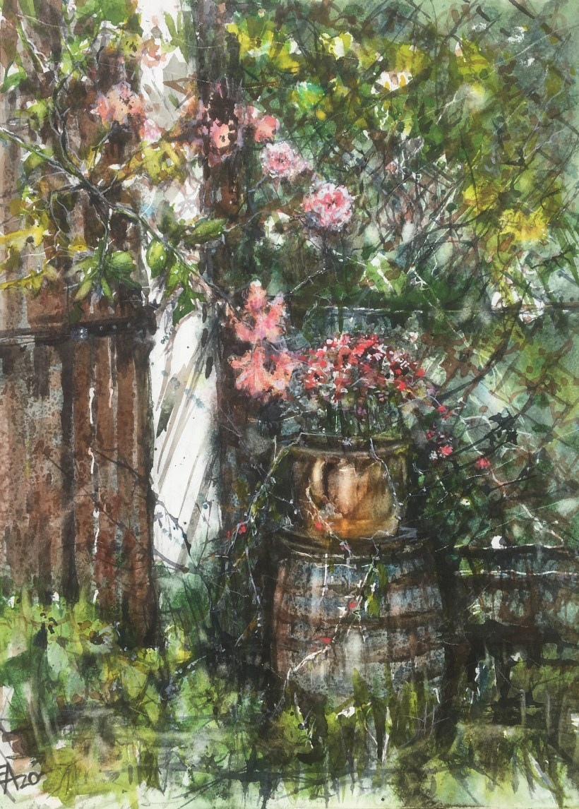 Le tonnelet fleuri- dim. 33x45cm