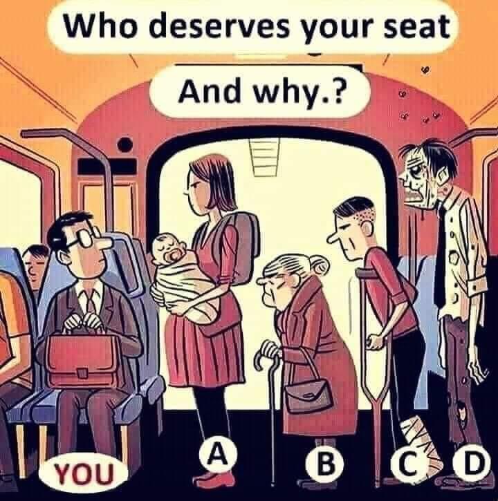 Cui i-ai ceda locul in autobuz?