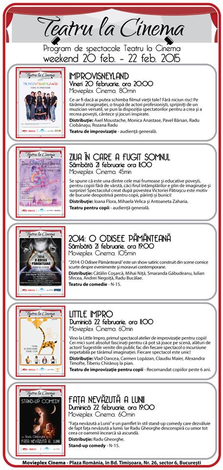 Teatru la Cinema Saptamana 20-23 februarie
