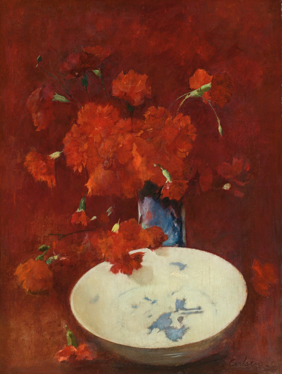 Emil Carlsen : Red carnations and delft, 1875.