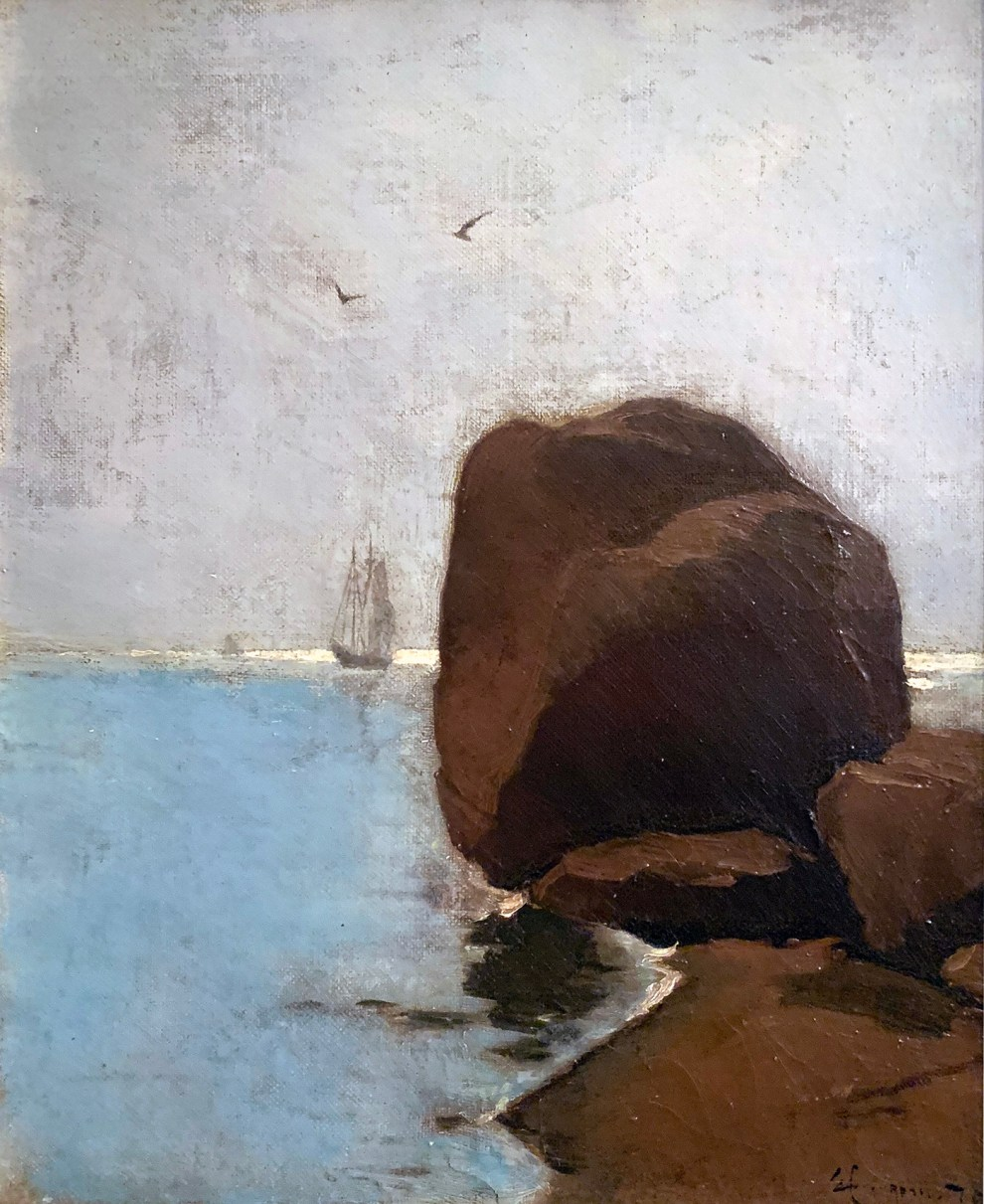 Emil Carlsen : Boulder shore with two ships in the distance, 1878.