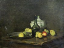 Emil Carlsen : Still-life with bottle and tureen, ca.1889.